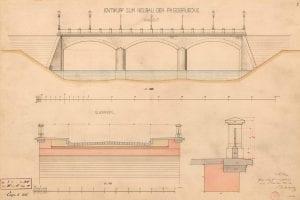 Plany mostu z 1874 roku