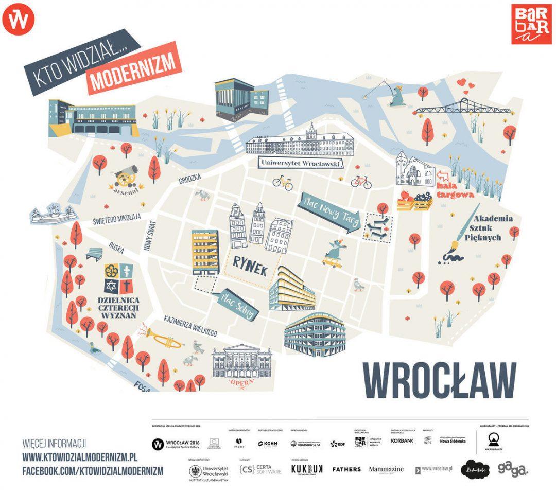 Nowa ilustrowana mapa Wrocławskiej moderny! – Miejsca we Wrocławiu.