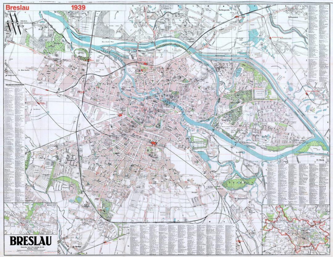 Precyzyjna mapa Breslau z 1939 roku. – Miejsca we Wrocławiu.