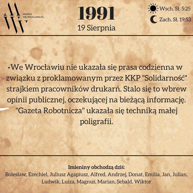 19 sierpnia 1991 r. [KARTKA Z KALENDARZA]. – Miejsca we Wrocławiu