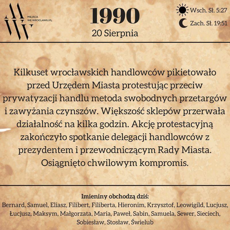 20 sierpnia 1990 r. [KARTKA Z KALENDARZA]. – Miejsca we Wrocławiu