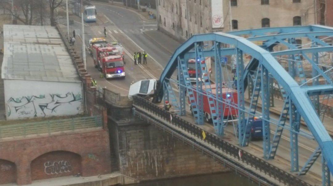 Wypadek przy moście Sikorskiego. Samochód prawie spadł do Odry… – MiejscaWeWroclawiu.pl