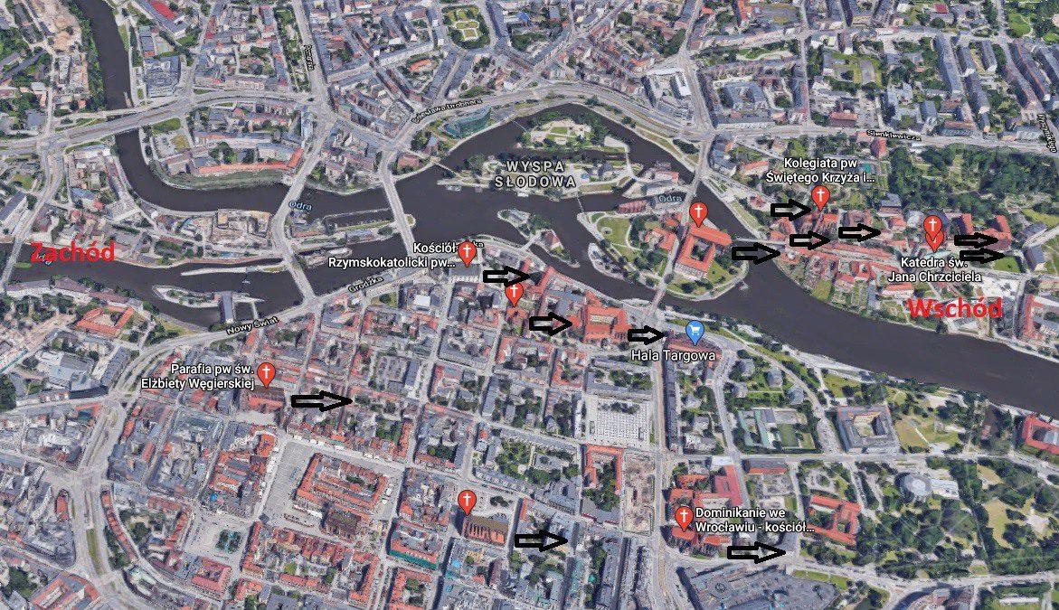 Patrząc ku wschodowi: wszystkie średniowieczne kościoły we Wrocławiu są skierowane na wschód.