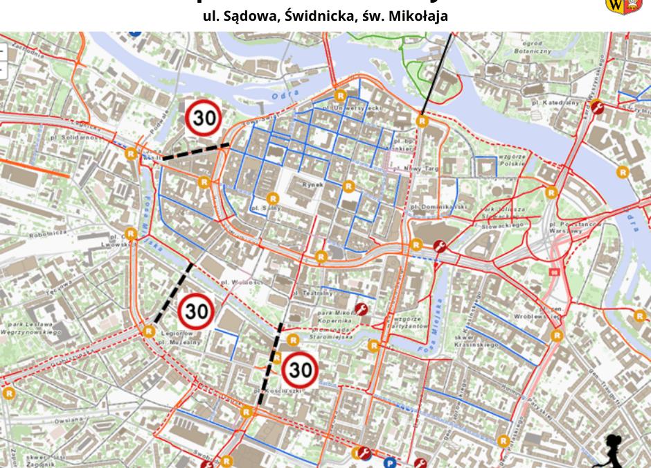 Ograniczenie prędkości w centrum Wrocławia do 30 km/h.