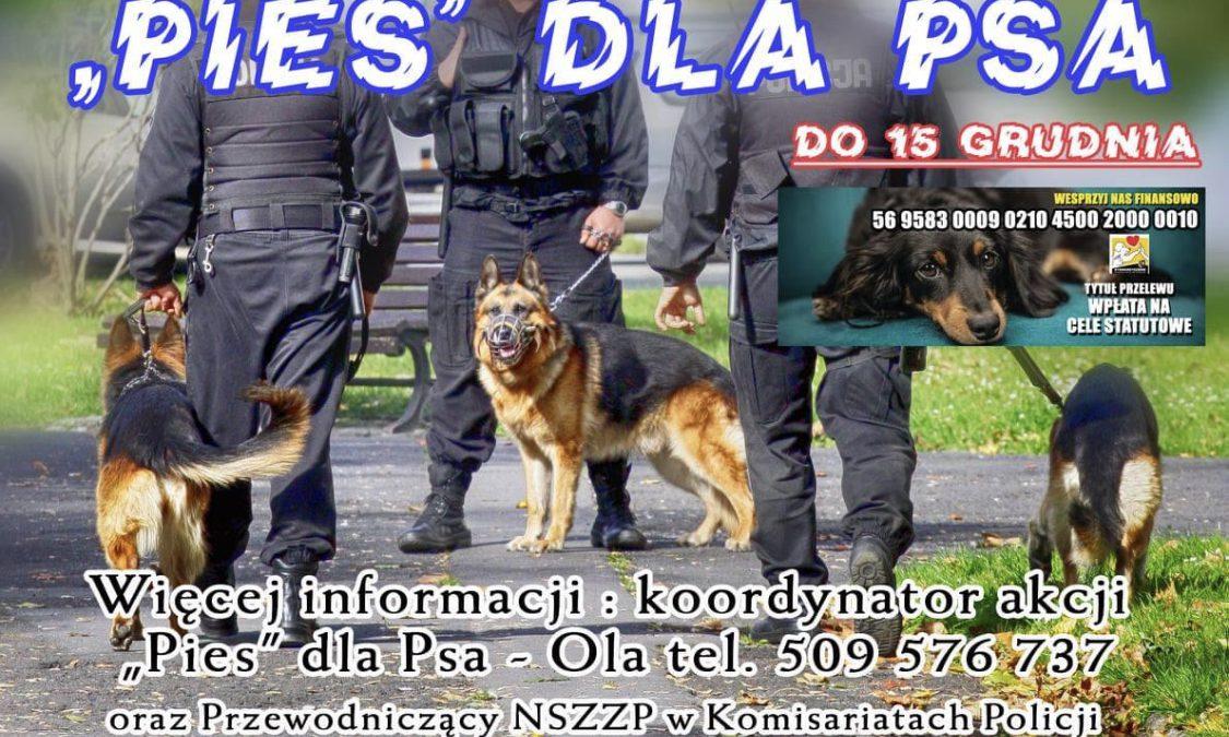 """""""PIES dla PSA"""" – wrocławscy policjanci zbierają karmę dla psów."""