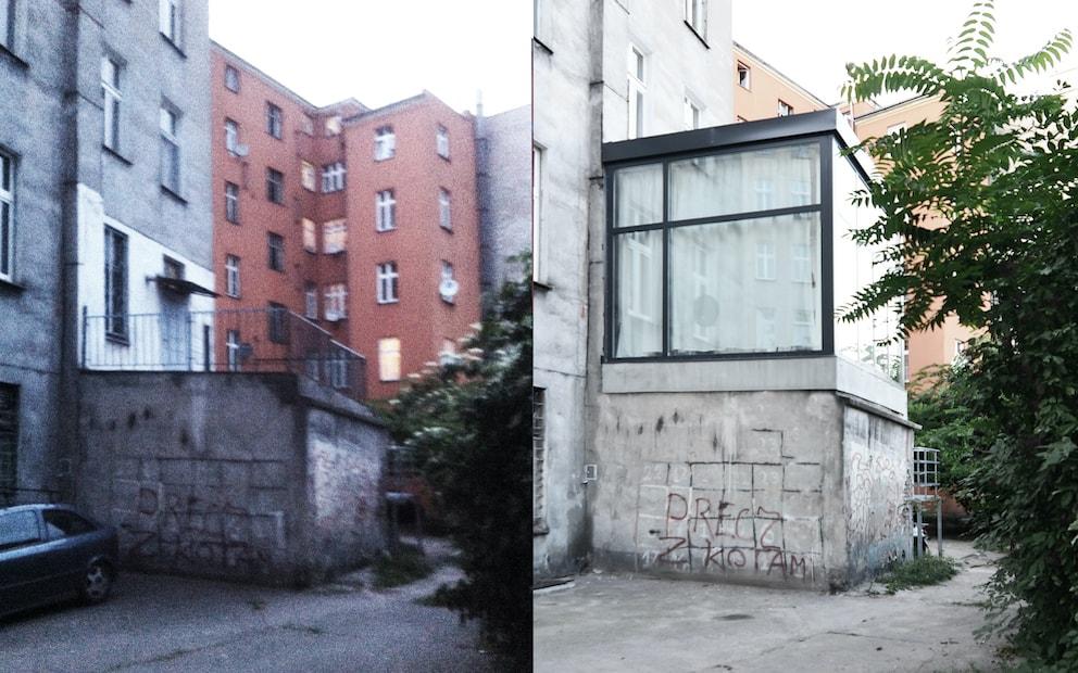 Nietypowe mieszkanie powiększone o szklaną kostkę.